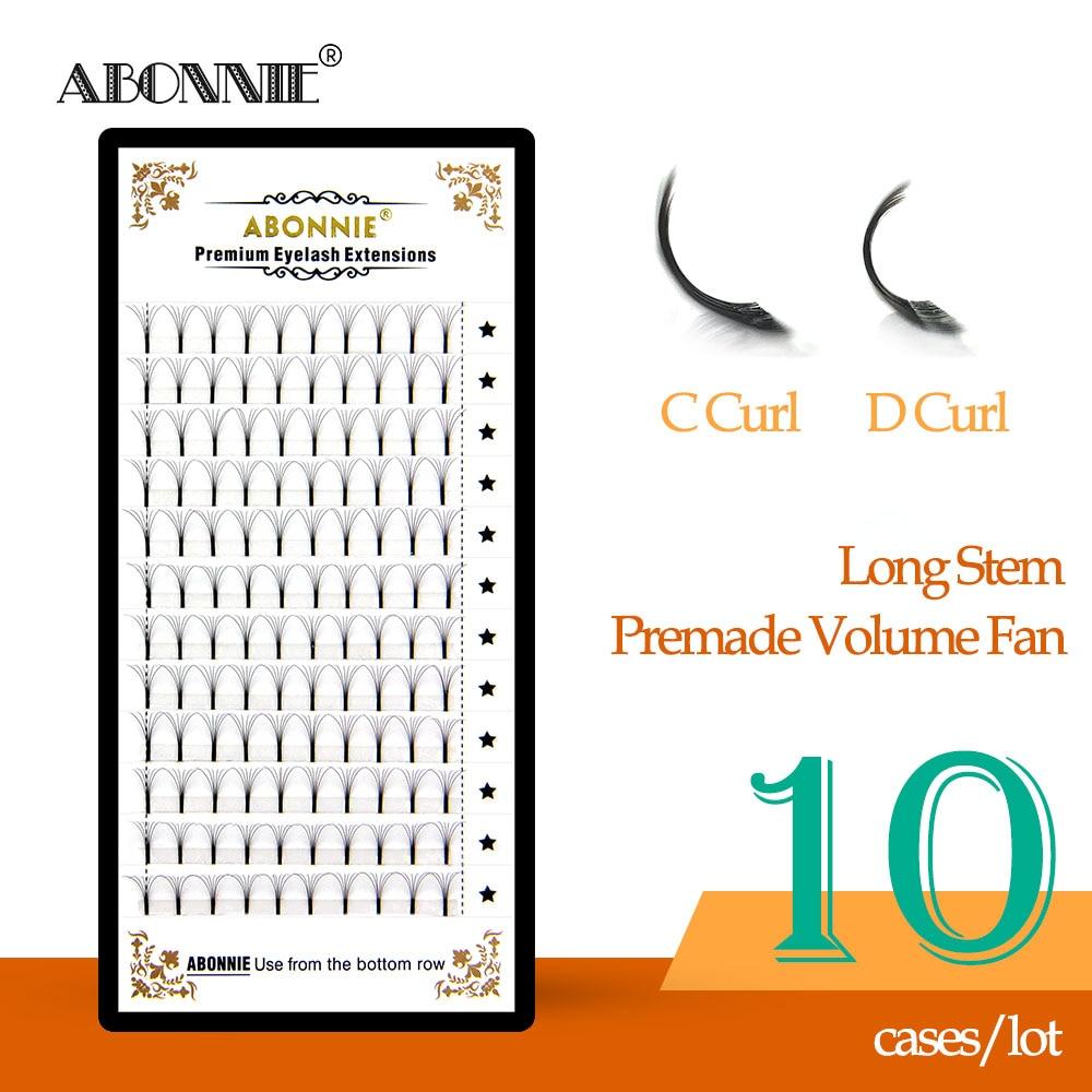 10 cases/lot High quality 3d/4d/5d/6d Long Stem Eyelashes Pre Made Volume fans Premade Russian Volume Eyelash Extent