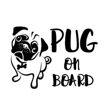 80% HOT SALES!!!16.7x12cm PUG ON BOARD Cartoon Dog Waterproof Car Styling Sticker Decal Decor image