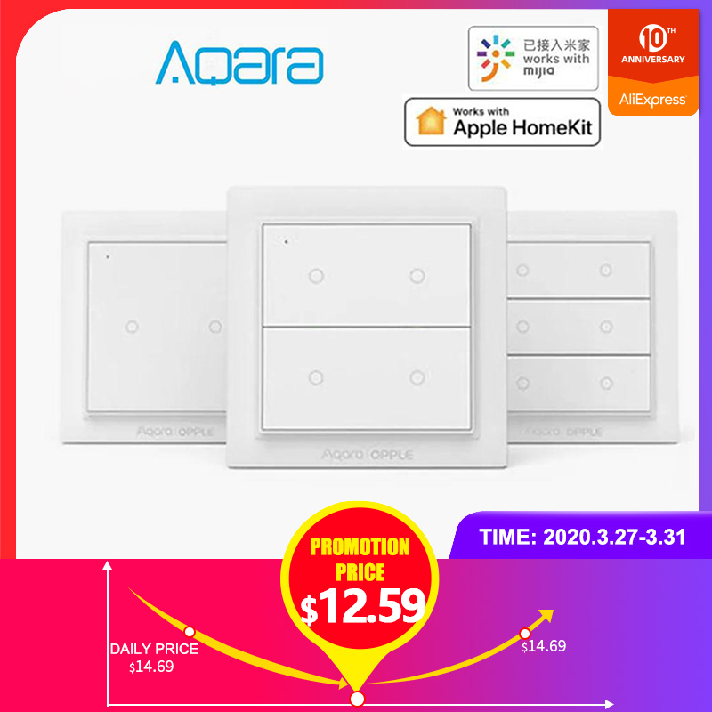 Original Aqara Opple Wireless Smart Switch International Version ZigBee 3.0 Work With Mijia App Apple HomeKit Wall Switch