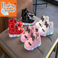 2021 Glowing Led Casual Shoes For Girls Fashion Children Spring Autumn Basket Cute Bow Baby Sneaker Flat Shoes  birthday present