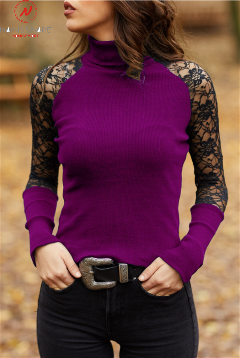 Elegant Women Spring Autumn T-Shirts Hollow Out Design Lace Decor Half High Collar Long Sleeve Slim Pullovers Top 3