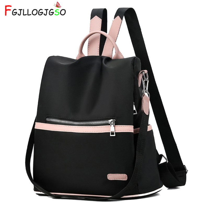 2019 Casual Oxford Backpack Women Black Waterproof Nylon School Bags for Teenage Girls High Quality Fashion Travel Tote Packbag image