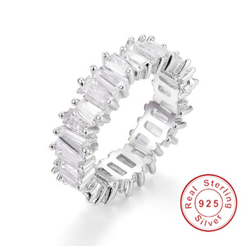 Estilo caliente de plata 925 simulado diamante pintura completa dedo anillo de compromiso joyería de las mujeres-banda de cz anillo de boda