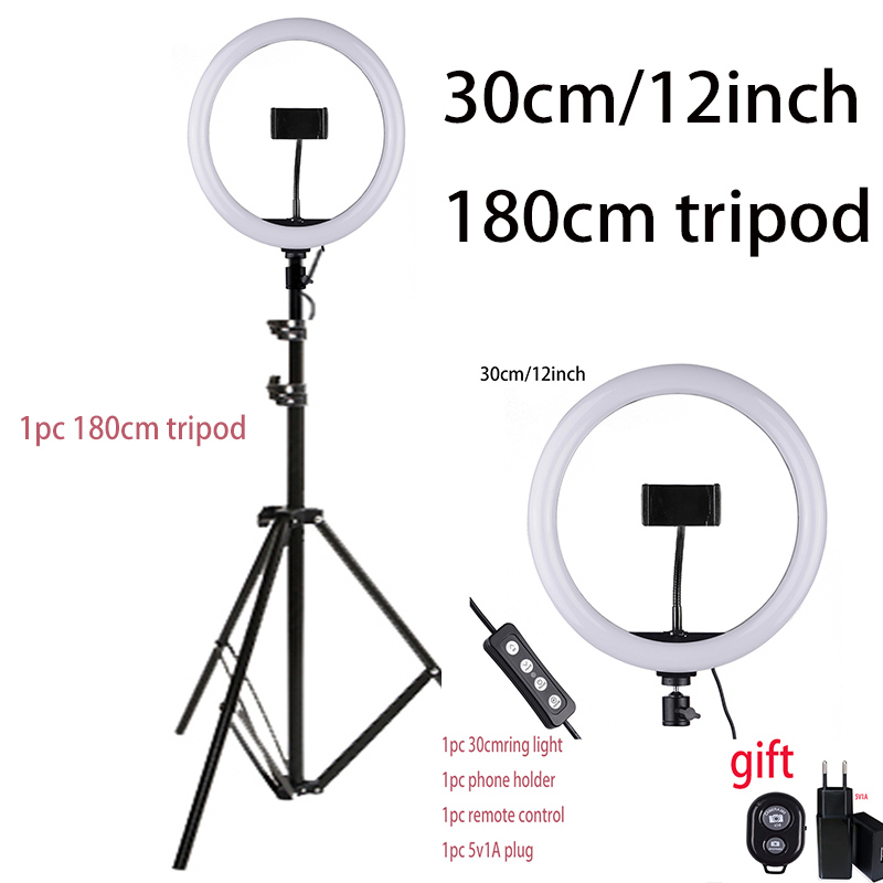 Image 2 - 33cm Selfie Ring Light with Phone Holder Light Stand 1pc Remote control 1pc 5V1A EU Plug Photography Lighting for Photo VideoPhoto Studio Accessories   -