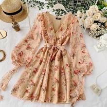 Новые модные женские платья Популярные французские пышные рукава v-образным вырезом кружева цветочные платья