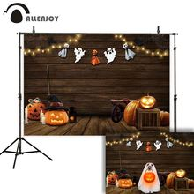 Allenjoy photography backdrop Halloween theme wood pumpkin lantern ghost witch hat spider web candle background for photo studio