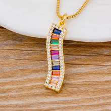Latest Design Fashion CZ Gold Chain Rhinestone Pendant Necklace Colorful Gifts For Women Girls Statement Necklace Charm Jewelry 2019 statement multilayer letter pendant necklace charm gold necklace bread beads chain necklace jewelry for women