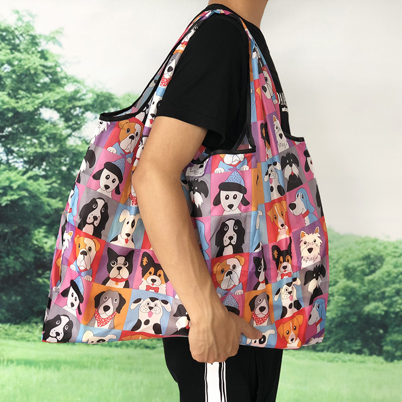 Купить с кэшбэком Portable collapsible shopping bag supermarket large-capacity package shopping bag portable large waterproof Oxford green bag