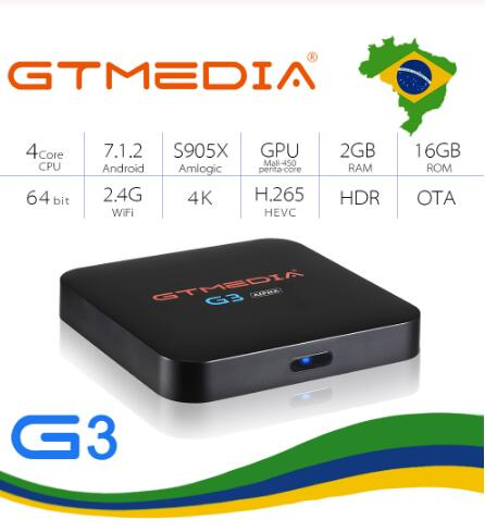 16g + Controle H.265 da Caixa Gtmedia Android Smart tv Box Media Player Hdcp 2g Remoto Built-in Wifi 4 k Iptv Brasil g3 7.1