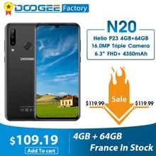 DOOGEE N20 16MP 트리플 백 카메라 휴대 전화 6.3 인치 FHD + 디스플레이 4 기가 바이트 64 기가 바이트 MT6763 옥타 코어 4350mAh 핸드폰 LTE