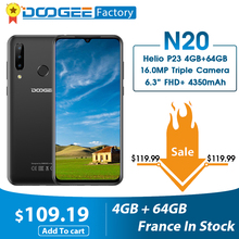 DOOGEE N20 16MP Triple Back Camera Mobile Phone 6.3 Inch FHD+ Display 4GB 64GB MT6763 Octa Core 4350mAh Cellphone LTE