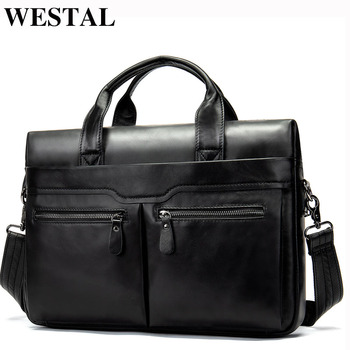 WESTAL Messenger Bag Men's Genuine Leather Shoulder Bags for Men for Laptop Leather Totes Men Handbags Crossbody Bags Man 9005