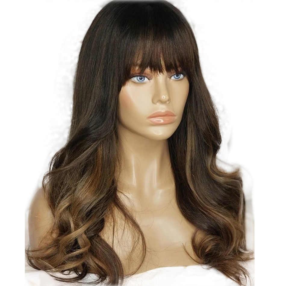 Бразильские волнистые человеческие волосы, парики на кружеве с челкой, парики из натуральных волос для женщин, 150% плотность, парики со средним соотношением