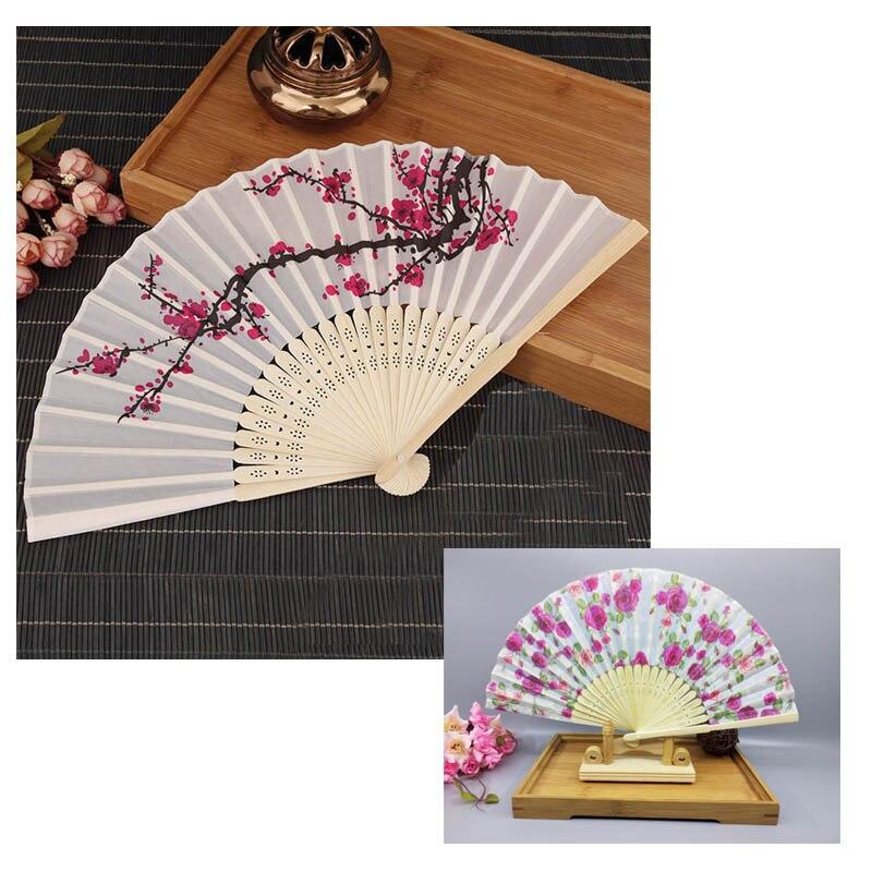 Plum Blossom Flower Print Polyester Silk Bamboo Folding Hand Fans Delicate Elegant White Fan Women Girl Wedding Christmas Party