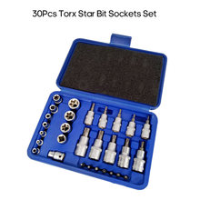 30Pcs Male Female Torx Star Socket Bit Set E & T Sockets Torx Bit Set 1/4 3/8 1/2 inch Drive Torx Socket Set with Storage Case(China)