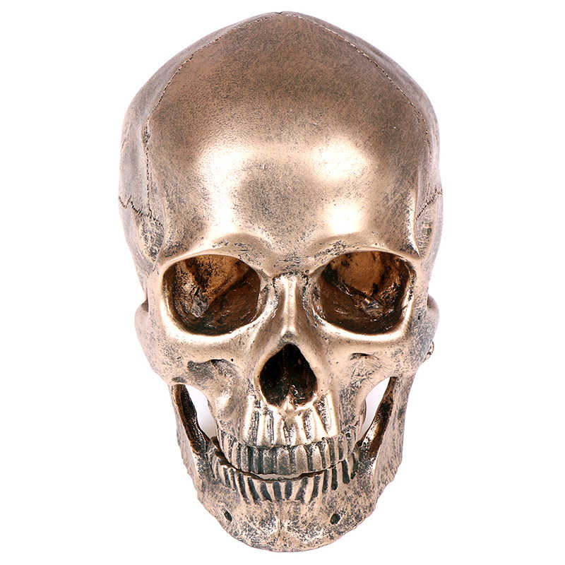 Bronze Resin Skull Model Painting Medical Model Sculpture Statue Crafts Halloween Home Decoration