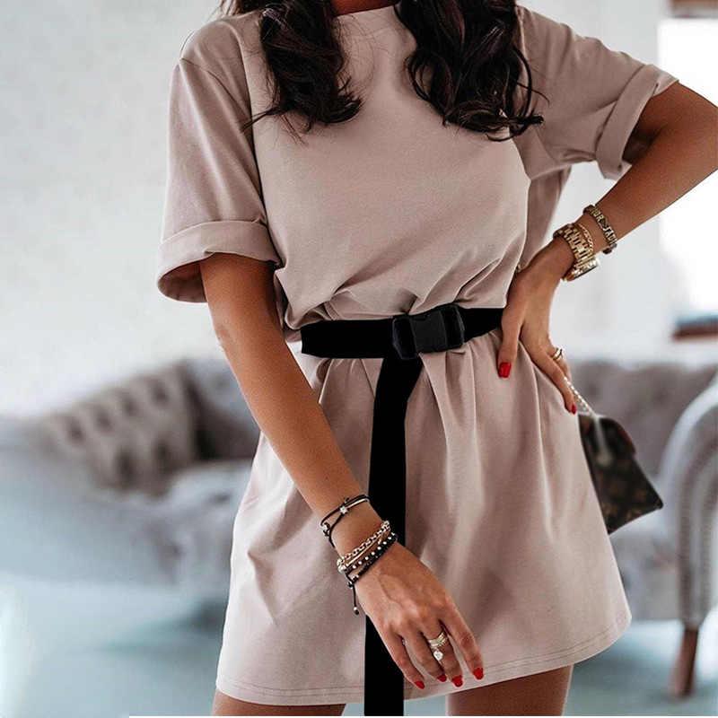 夏の女性のシャツミニドレススポーツ半袖カジュアル女性のドレス 2020 ファッションストリート女性 vestidos