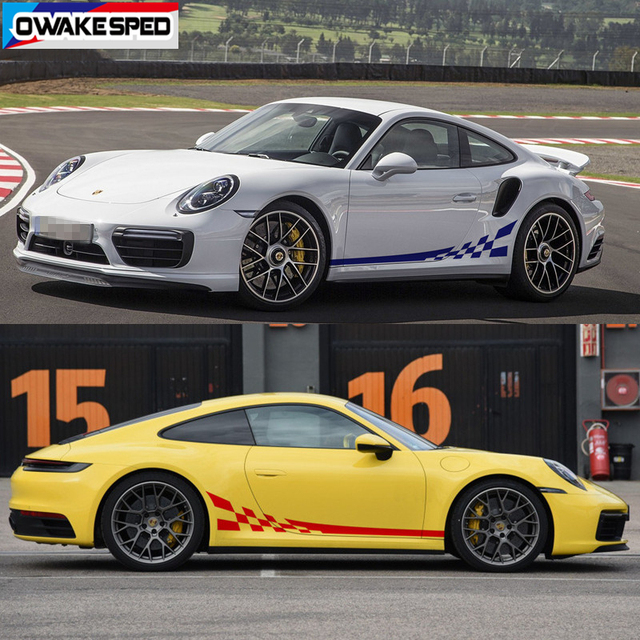 Racing Flag Graphics Sticker Car Door Side Skirt Vinyl Decals For Porsche 911 997 Exterior Accessories Sport Stripes Sticker 2