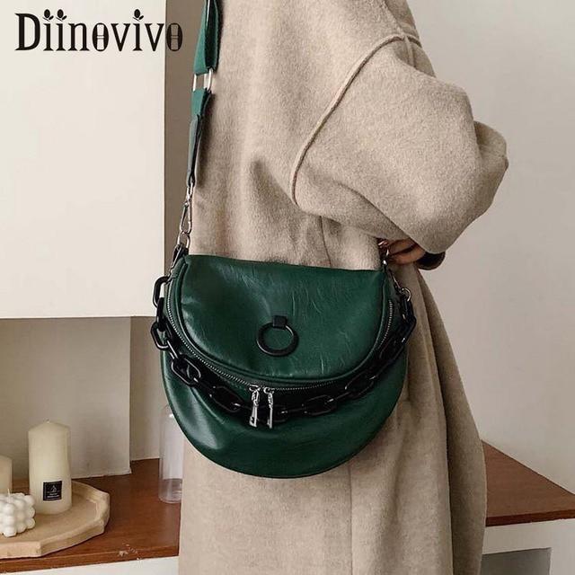 DIINOVIVO rétro sacs à main femmes sacs concepteur en cuir PU large sangle bandoulière sacs à bandoulière pour adolescentes fourre tout selle WHDV1407