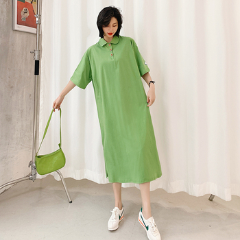 Plus Size Women Dress Summer 2020 Green Casual Loose Large Straight Polo Dresses Cotton Elegant Long Woman Vestidos New new fashion plus size women s green green dress korean version of summer slim green dress 2126