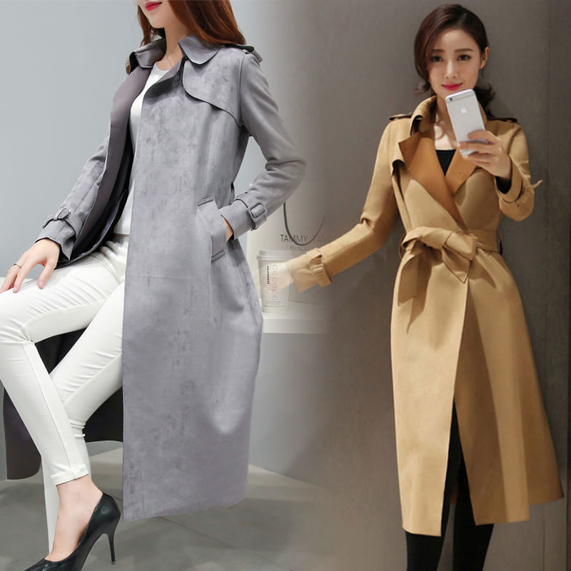 Autumn Spring Long Faux   Leather     Suede   Trench Women Plus Size Fall Ladies Korean Khaki Red Pink Large Size Faux   Suede   Coat
