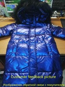 Image 5 - Rusya Snowsuit 2020 çocuk kış aşağı ceket kızlar için giysi su geçirmez açık kapüşonlu ceket çocuklar parka gerçek kürk giyim