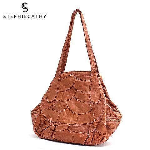Bolsas de Couro de Pele Carneiro para as Mulheres de Alta Bolsa de Ombro Vintage Qualidade Real Leather Hobo Bolsa Senhoras Retalhos Feminino Tote sc