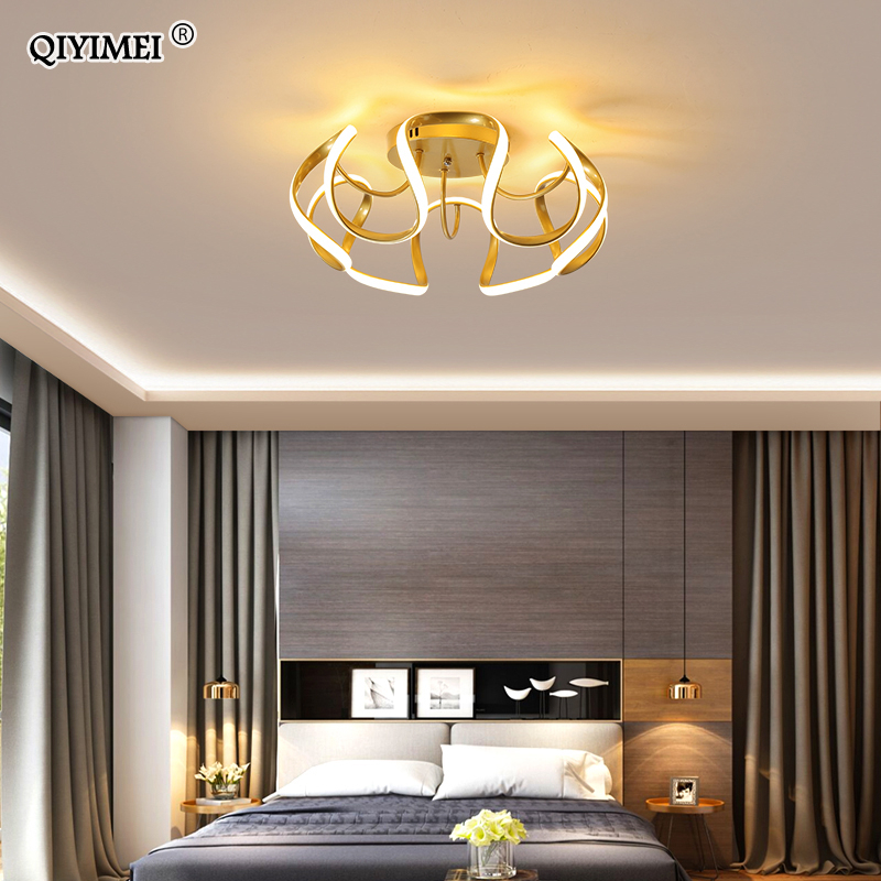 Bedroom Lamp Modern LED Chandelier Lighting Living Study Room Decoration White  Gold Black Color Dimmer Parlor Foyer Luminaria