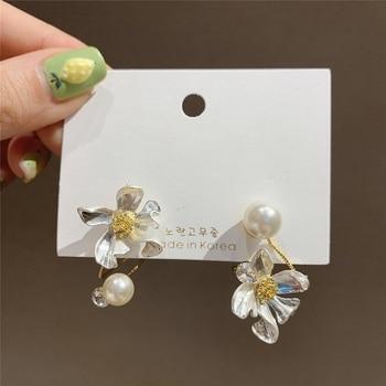 MENGJIQIAO Korean Elegant Asymmetric Metal Flower Drop Earrings For Women Students Pearl Temperament Fashion Oorbellen Jewelry
