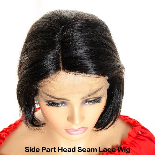Парик Pixie Cut, боковая часть, головной шов, кружевные передние человеческие волосы, парики Remy, бразильские прямые короткие парики Bob, 130% плотно...