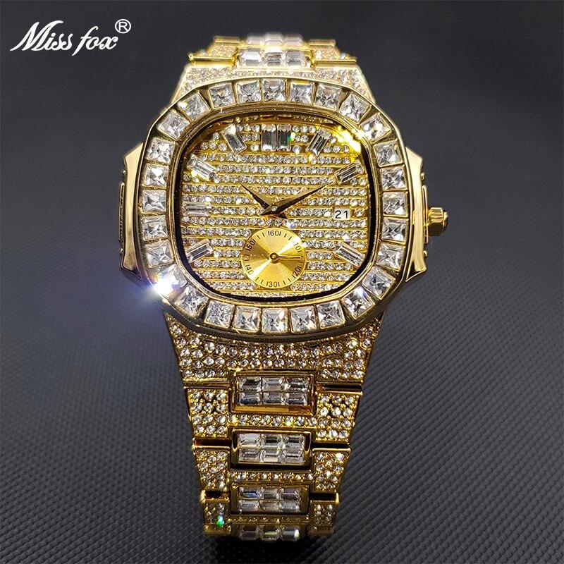 Для Мужчин's часы золотые лед из ювелирных изделий Роскошные туфли-лодочки на платформе лидирующего бренда с фирменным дизайном часы для да...