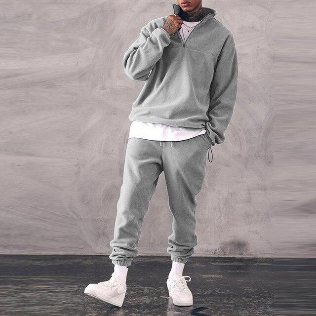 Sweatshirts Set Men Winter Warm Fashion 2021 Men's Jogger Tracksuit Solid Stand Collar Sweatshirt Casual 2 Pieces Sports Suits 5