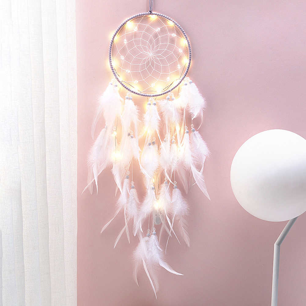 Girl Heart Dream Catcher National Feather Ornaments Lace Ribbons Feathers Wrapped Lights Dreamcatcher