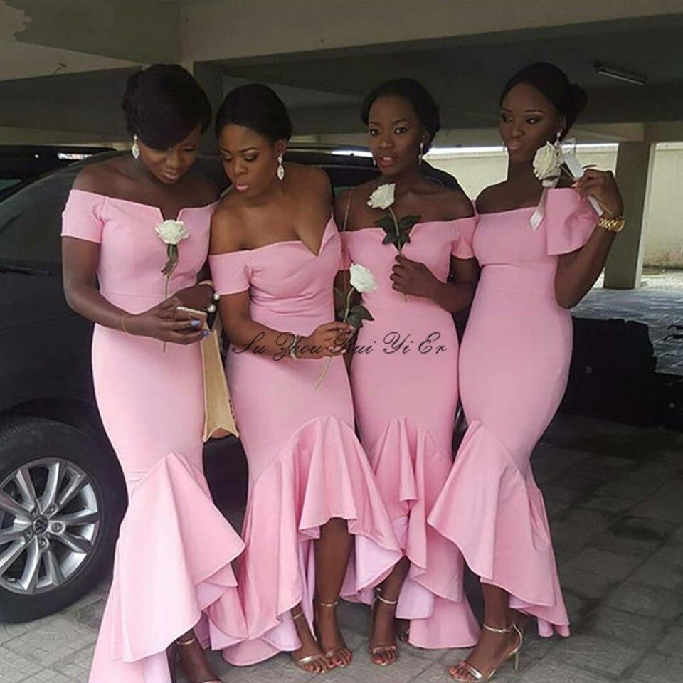 Pink Bridesmaid Dress 2020 Mermaid Long Wedding Guest Dress For Women Satin Corset Back Prom Gown Sukienki Na Wesele Damskie