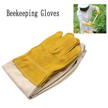 1 para rękawice pszczelarskie rękawy ochronne oddychająca żółta siatka biała kożuch i tkaniny do pszczelarstwa rękawice pszczelarskie tanie i dobre opinie JIECARE CN (pochodzenie) Beekeeping gloves yellow white 1 pair