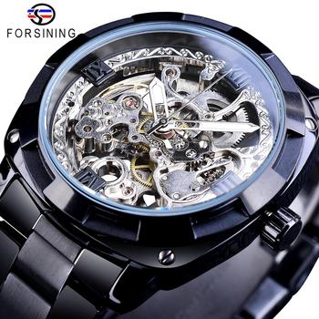 Forsining Men Skeleton Automatic Mechanical Watch Black Transparent Gear Stainless Steel Band Vintage Watches For Man Dress Gift 2017 forsining china brand men watches dress automatic self wind watch black tourbillion dial imported 316l stainless steel band