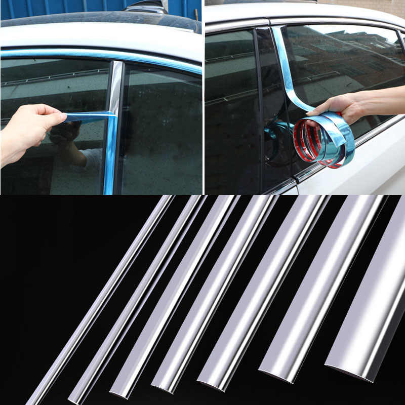 Chrome moulage garniture voiture porte protecteur autocollants bande pare-chocs gril voiture Anti-Collision bande porte bord garde plaque autocollant lumineux