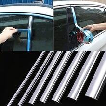 Chrome moldando guarnição porta do carro protetor adesivos tira pára-choques grill carro fita anti-colisão borda da porta placa de guarda brilhante adesivo