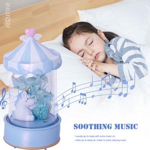 Image 3 - חד קרן לילה אור מוסיקה תיבת חמוד סוס מנורת קישוט חדר שינה ילד חבר הודיה חג המולד ילדה יום הולדת מתנה