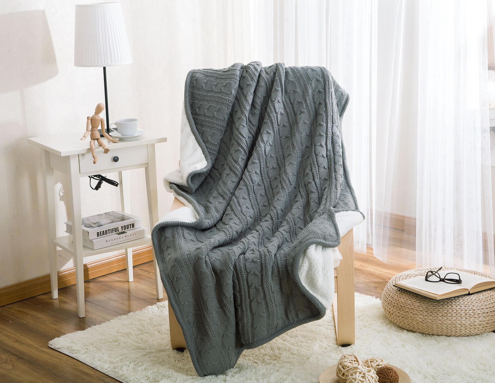 100% хлопок, высокое качество, овечье вельветовое одеяло, зимнее теплое вязаное шерстяное одеяло, диван/покрывало для кровати, одеяло, вязаное... - 3