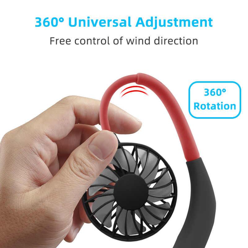 Mini USB Taşınabilir Fan Boyun Fanı Boyun Bandı Ile şarj edilebilir pil Küçük Masa Fanlar el HAVA SOĞUTUCU Klima ofis için