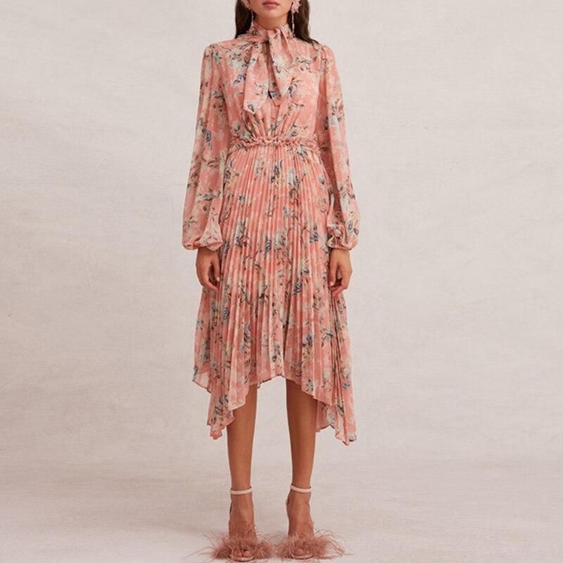 Mode imprimé Floral rose robe 2019 automne ceinture arc scou une ligne plissage irrégulière mousseline de soie robes femmes longue lanterne manches robe