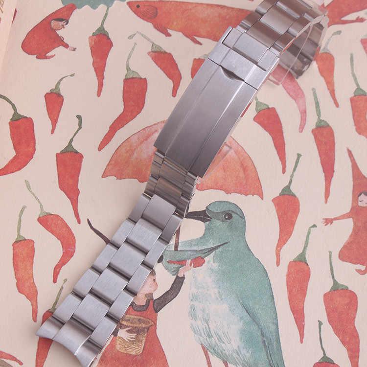 20 millimetri Spazzolato Polacco Argento In acciaio inox Cinturini Cinturino in pelle Per Daytona Sottomarino Sub-mariner Wristband Del Braccialetto