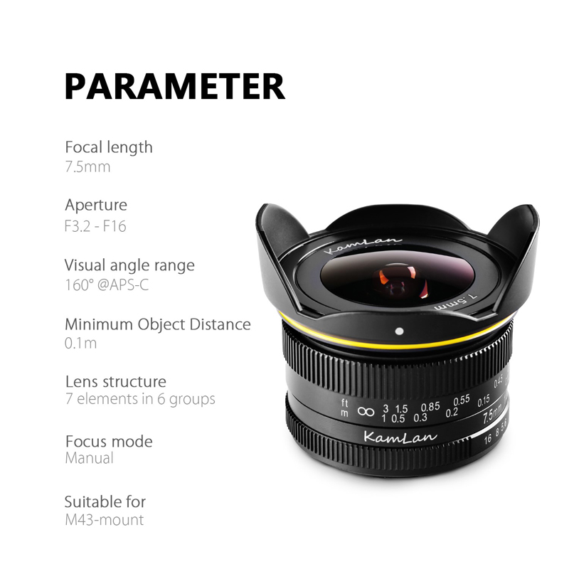 New Kamlan 7.5mm F3.2 APS C Wide angle fixed focus Pure Manual lens Mirrorless Camera lens for Macro 4/3|Camera Lens| |  - title=
