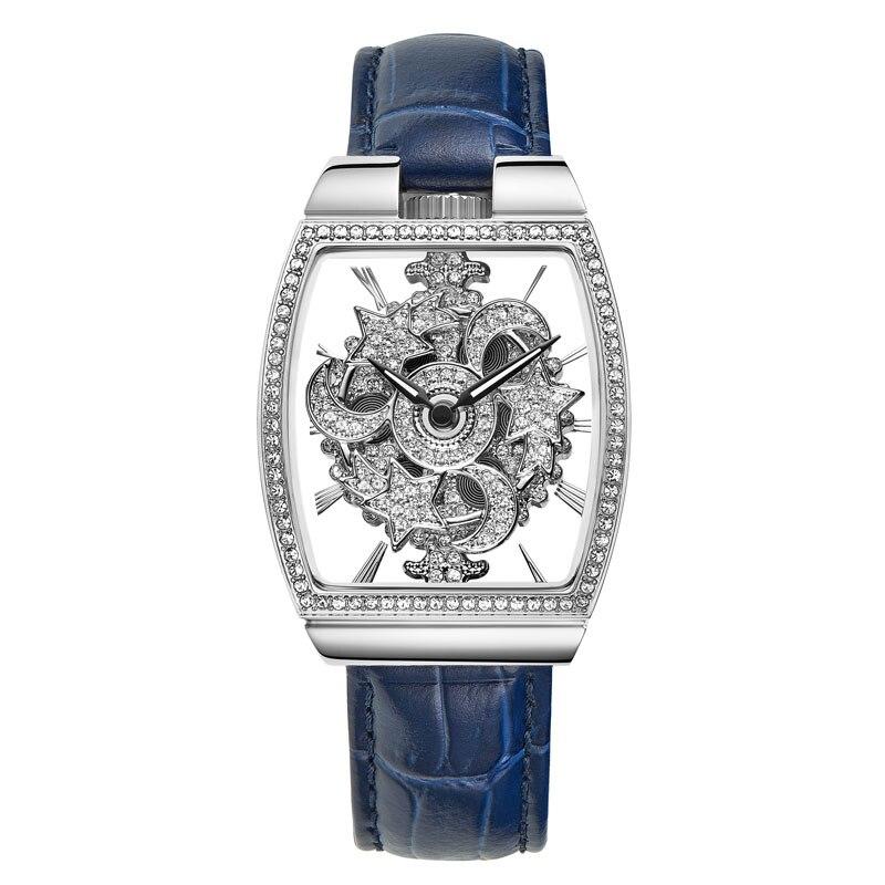 FUYIJIA 새로운 중공 석영 시계 여성 전체 다이아몬드 360 학위 회전 시계 배럴 유형 여성 시계 가죽 방수 시계