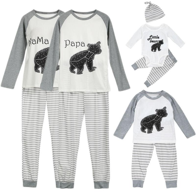 2019 US Family Matching Pajama Sets Casual Pajama Bear Long Sleeve Outfit Parent-Child Cotton Sleepwear