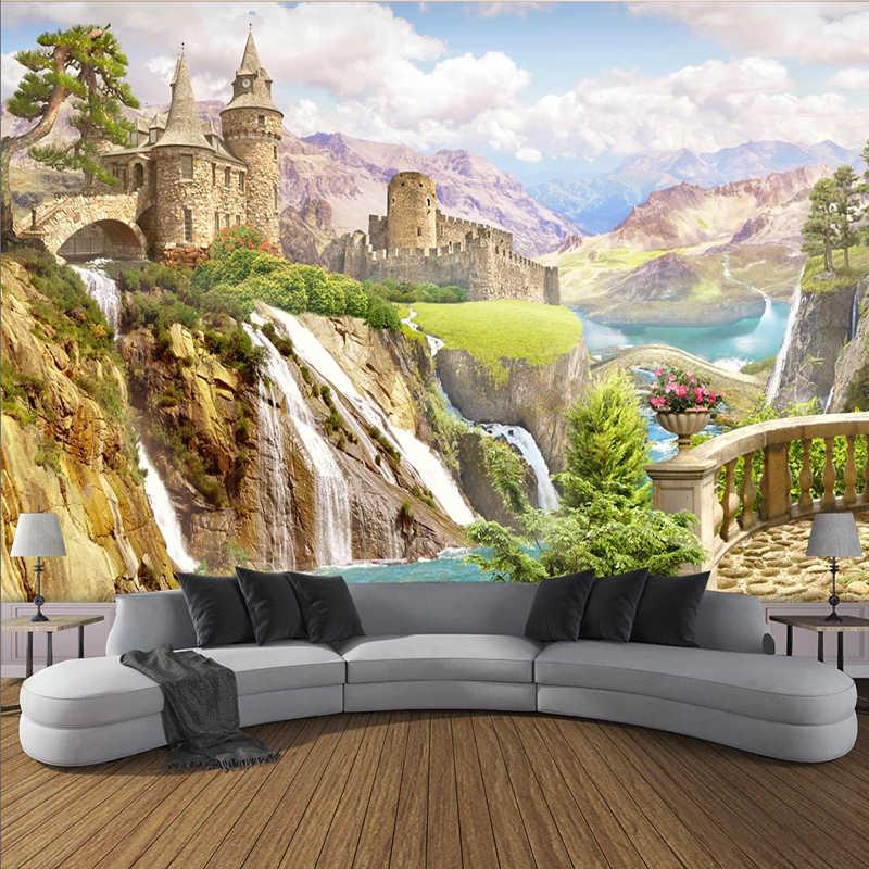 Custom wall mural garden castle backdrop for living room