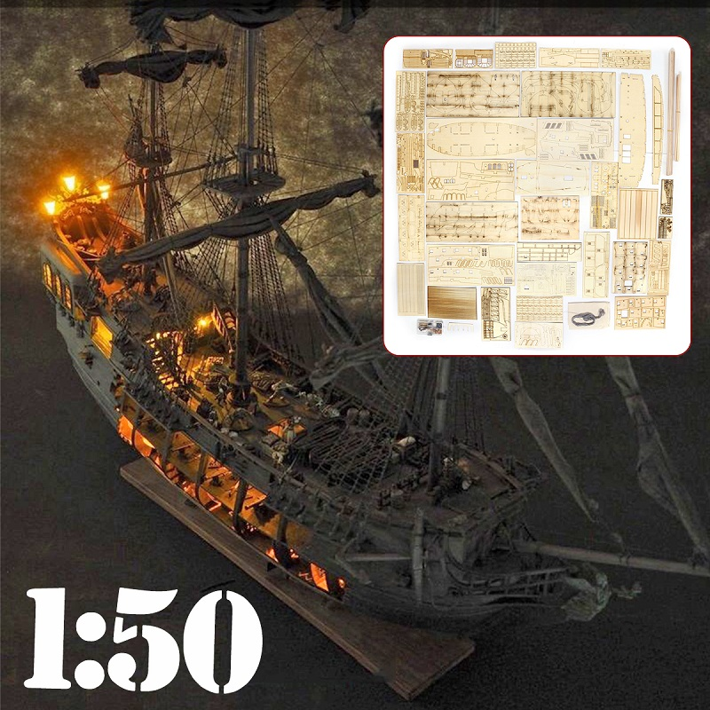 1:50 DIY Craft Wood Boat Model Kit For Black Pearl Sailing Ship For S Of The Caribbean Assembly Boat Model Kit