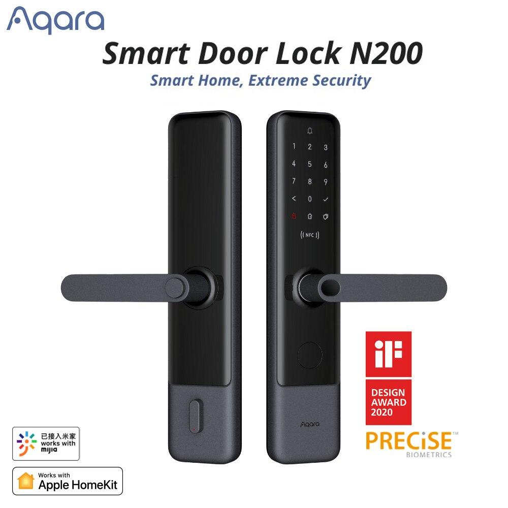 Дверной замок Aqara Smart N200, сканер отпечатков пальцев, Bluetooth, пароль NFC, разблокировка, работает с Mijia Apple HomeKit, умная связь с дверным звонком