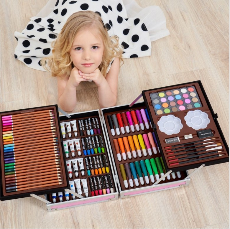 145 pcs super mega art set Non-toxic watercolor pen  Creative Learning stationery artistic drawing sets gift for kids